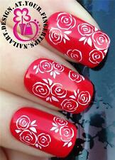 NAIL ART WRAPS WATER TRANSFERS STICKERS DECALS DECO SET FLORAL WHITE ROSES #260