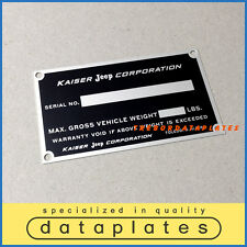 KAISER JEEP CORPORATION DATA SERIAL NUMBER PLATE STATION WAGON FC-150 170 ID TAG