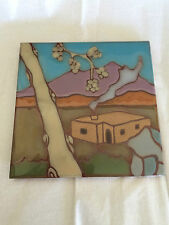 HAND PAINTED CERAMIC POTTERY SUN TILE  MOUNTAINAIR NM VILLAGE SCENE 6""