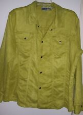Chico's Design Polyester Snap Front Lime Green Jacket Sz 3 or L 16-18
