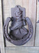 Cast Iron Cowboy Cow Boy Boot Star Door Knocker Farm Barn Gate Western Man Cave