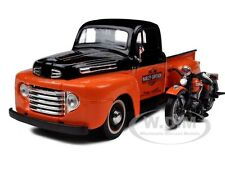 1948 FORD F-1 HARLEY DAVIDSON W/ 1948 FL PANHEAD 1/24 ORANGE/BLACK MAISTO 32171