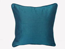 """Blue Crayola Solid Square Throw Cushion Cover 18x18"""" Cord piping Polyester silk"""