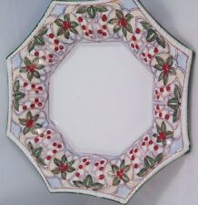 Japanese Asian Octagon 7-5/8 in Soup Bowl Leaves Berries Cherries Hand Painted