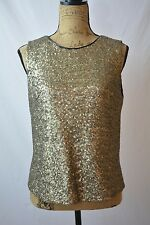 Tahari - Black lined GOLD sequined sleeveless back zip blouse, size M