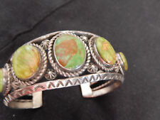 OLD NAVAJO INDIAN ROYSTON TURQUOISE SILVER CLUSTER BRACELET CUFF SIGNED BJ