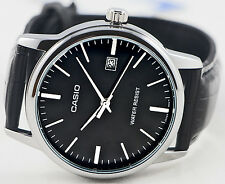 Casio MTPV002L-1A Men's Analog Watch Leather Band Silver and Black Date New