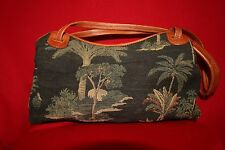 TOMMY BAHAMA:  Brown Green with Palm Trees Tapestry Satchel Handbag
