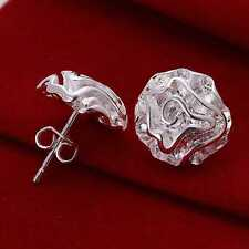Womens 925 Sterling Silver Plated Pair of Rose Flower/Petals Stud Earrings.