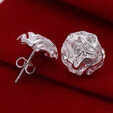 Womens 925 Sterling Silver Plated Pair of Rose Flower/Petals Stud Earrings.