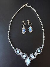Necklace Earring Set Vintage Parure Blue Swarovski Elements Gemstone