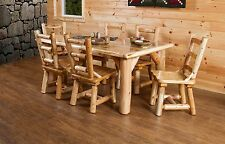 Rustic White Cedar Log Dining Table Set with 6 Chairs- Amish Made in USA