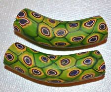 2 Antique Venetian Green Millefiori 'Snake Skin' Cane Elbow Beads, African Trade