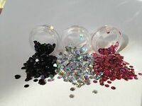 Nail art glitter sequin Discs/ dots Black Holographic 3ml pots or 30g bags