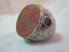 Islamic Ring 925 Sterling Silver Muslim Antique engraved Agate men craft