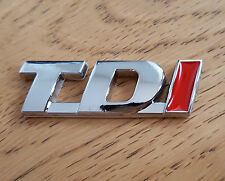 Red & Silver Chrome 3D TDi 100% Metal Emblem Badge Sticker Diesel Power SUV TDI