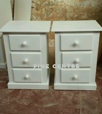 HANDMADE AYLESBURY x2 WHITE 3 DRAWER BEDSIDE CABINET (ASSEMBLED) NO FLAT-PACK!!!