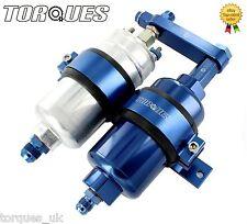 Bosch 044 Fuel Pump And Billet High Flow Fuel Filter Assembly In BLUE (AN6/AN8)