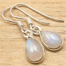 Natural RAINBOW MOONSTONE Drop Gems Little Earrings ! 925 Silver Plated Jewelry