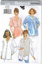 Easy Button Up Down Shirt Top Tunic Vest Butterick Sewing Pattern Sz 20 22 24