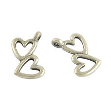 Heart Charms Heart Pendants Double Heart Charms Valentines Charms Antique Silver