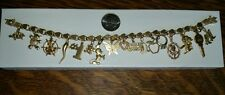 VINTAGE 14K GOLD ER HEART CHARM BRACELET WITH 17 CHARMS MICKEY SNOOPY NAUTICAL