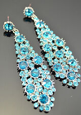 New Fashion Gorgeous   Sky Blue Crystal Rhinestone  Big Teardrop Earrings
