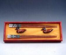 Gift Set 2 Pairs China Great Wall Painted Wooden Chopsticks w/ 2 Duck Holders