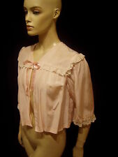 40s VINTAGE PINK RAYON LACE BED JACKET CUTE POCKET S-M
