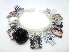 MARINA AND THE DIAMONDS ROBOT BLACK ROSE SILVER PICTURE CHARM BRACELET 7.5""
