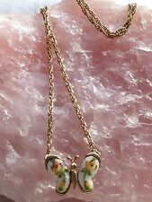 Vintage Enameled Butterfly Pendant- gold tone chain Necklace
