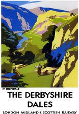 Art AD en Dovedale el tren ferroviario de viaje Derbyshire Dales LMS cartel impresión