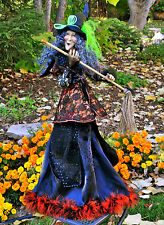 "HALLOWEEN WITCH 32"" Feathers Broom Black Lips/Nails Cape Lace WOW NEW!"