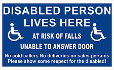 Disabled Person at risk of falls unable to anser door - Door  Window decal Sign
