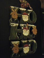 Painted Wood Handcrafted Santa & Reindeer Ho Ho Ho Wall Hanging