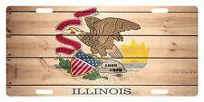 ILLINOIS State Flag  Custom License Plate State Emblem WOOD Version