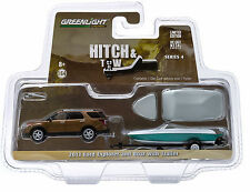 1:64 GreenLight *HITCH & TOW 4* Brown 2013 Ford Explorer SUV w/BOAT & TRAILER