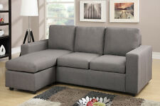 Reversible Sectional Sofa With Ottoman In Grey Color Linen For Living Room Set
