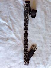 Le Temps Des Cerises Womens Brown Leather Belt With Silver Studs