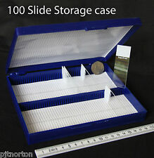 Blue Microscope slide storage case box with 100 capacity archiving transport