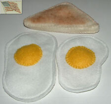 felt food play toys 2 EGGS lg&sm and 1/2 piece of TOAST children kid pretend