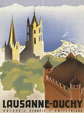 TRAVEL SWISS SWITZERLAND MOUNTAIN COAST LAUSANNE OUCHY ART POSTER PRINT LV4124
