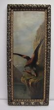 Victorian Aesthetic Movement Americana Oil Painting Eagle Hawk Spectacular Frame