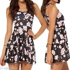 Womens Summer Short Dress Sexy Club Cherry Blossom Flower Black Pink Floral