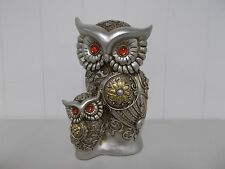 G54362 OWL SILVER GOLD MOM AND BABY ART DECO STATUE DECORATION FIGURINE GSC