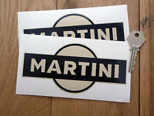 "Martini Black & Beige adhesivos para coches de 6 ""Par Retro Vintage Custom Hot Rod Racing"