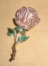 Beautiful Weiss Rose Pin in Pink Pave Set Rhinestones & Green Enamel