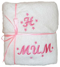 Personalised Embroidered Hand Towel & Facecloth Set Wedding  Mothers Day Gift