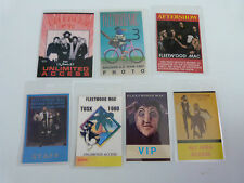 FLEETWOOD MAC- Collection of SEVEN Laminated Backstage Tour Passes (x7)