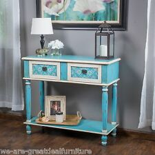 Shabby Chic Inspired Design Blue Distressed Floral Wood 2-Drawer Console Table